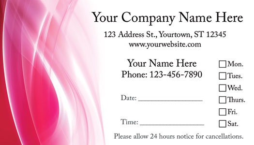 Hair Salon Appointment Cards