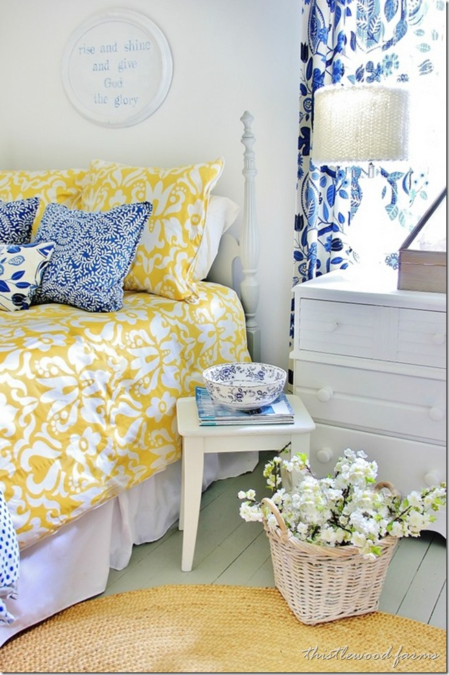 Blue And Yellow Farmhouse Bedroom Farm Atmosphere Ideas Paint Red Cream Kitchen Cottage House Apppie Org