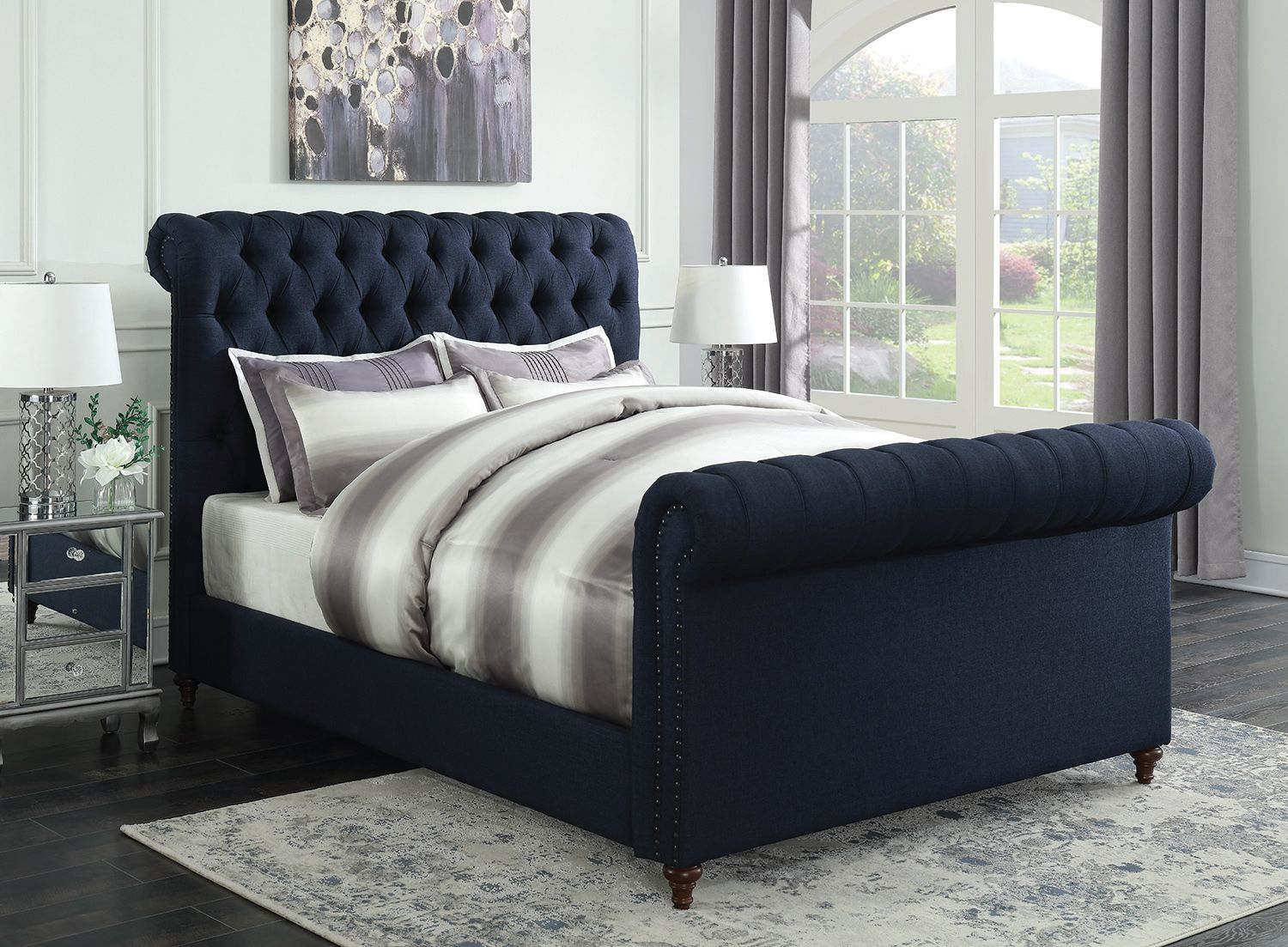 Gresham Navy Blue Woven Fabric Cal King Bed W Scrolled Tufted Headboard Bedroom Set Atmosphere Ideas Royal Color Cobalt Midnight Dark Dress Shades Of Apppie Org