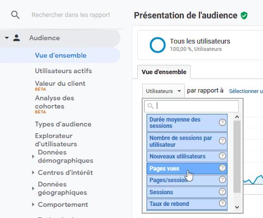 Changer Utilisateurs pour Pages vues dans Audience