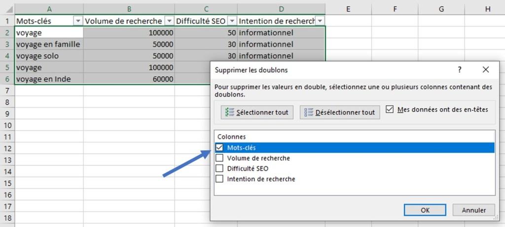 Supprimer les mots-cles en doublon dans un fichier Excel