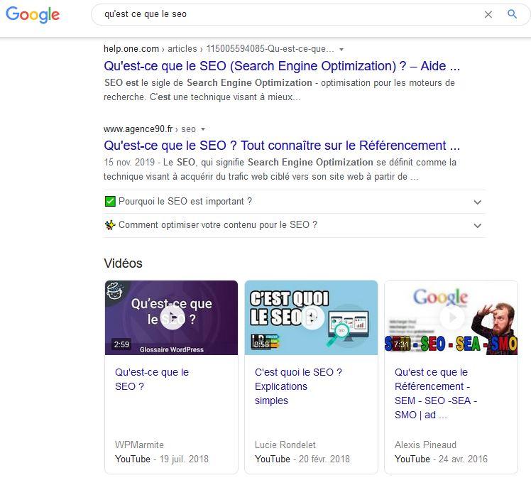 Liens video dans une page de resultats Google