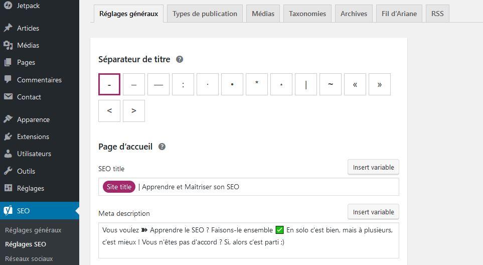 Reglages WordPress pour la page d accueil