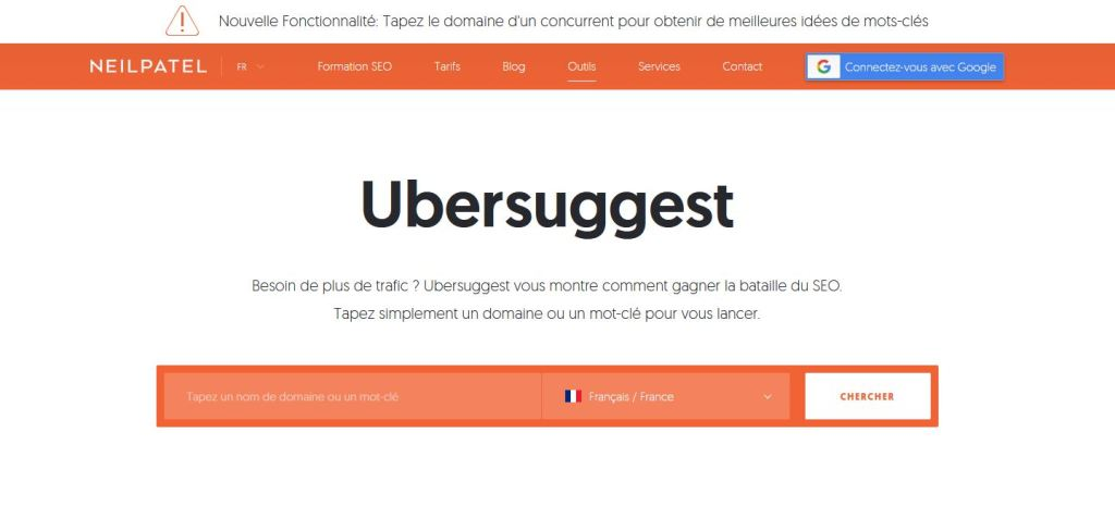 Outil Ubersuggest