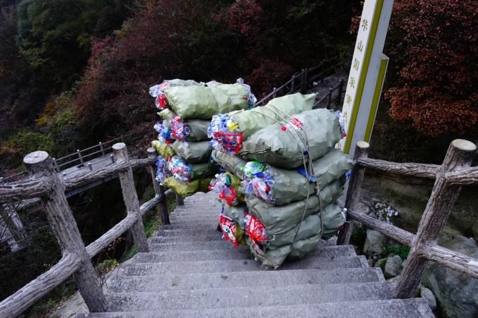 Gestion des déchets - Montagne sacré Huashan