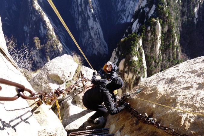 Le long des falaises - Mont Huashan