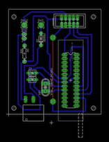 Board layout of the printed circuit board for the AVR microchip-programming device