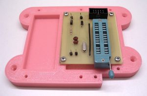 Image of the PCB and the lower part of the 3D-printed enclosure for the AVR microprocessor-programming device