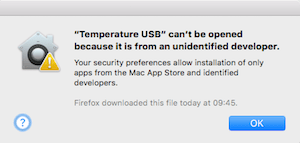 Screenshot of the standard MacOS unsigned app warning when running the TemperatureUSB application for the first time