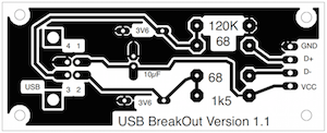 Image of the etching artwork used to make the photo-etched PCB for the V-USB breakout board