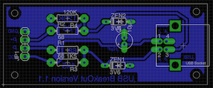 Board layout of the USB breakout board for V-USB