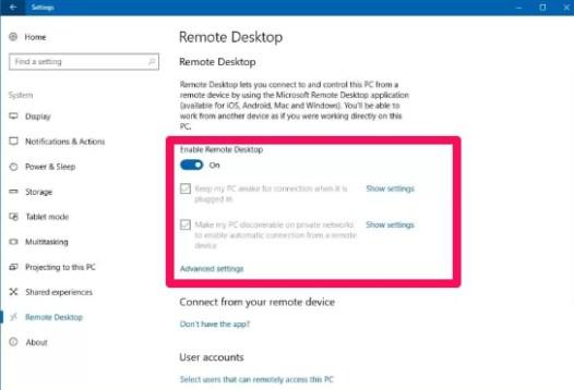 enable remote desktop windows 10