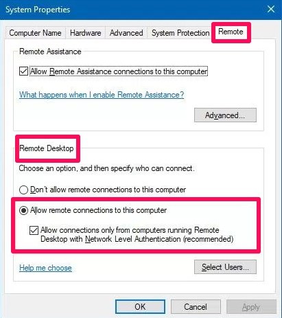 remote settings system properties windows 10