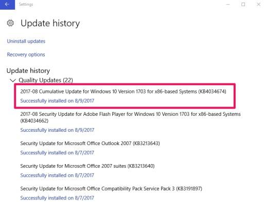 windows 10 update history check
