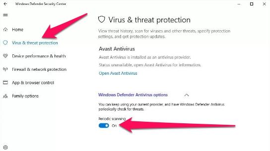 windows defender periodic scanning settings