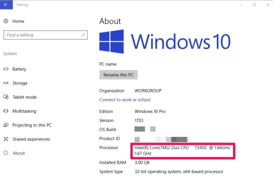 intel processor on windows 10