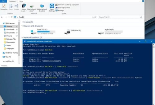 change drive letter windows 10 powershell