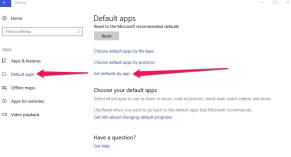 set default by app windows 10