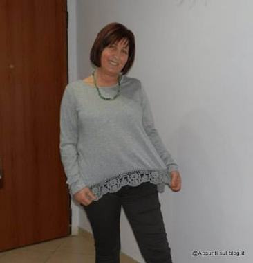 Long Sleeve Crochet Loose T-shirt su Shein