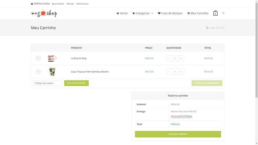 Modelo de Loja Virtual, Carrinho de Compras