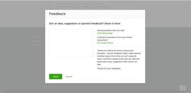 Upwork feedback button
