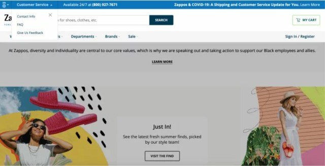 Zappos feedback form