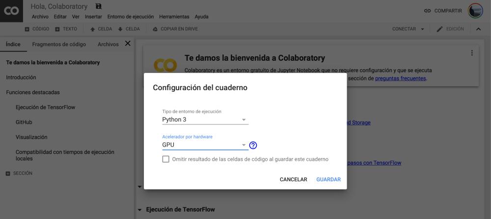 seleccionamos el uso de gnu en google colaboratory
