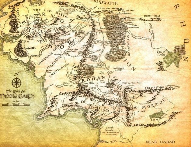 mapa tierra media el señor de los anillos