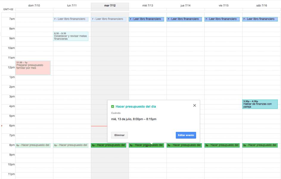 Calendario financiero en Google