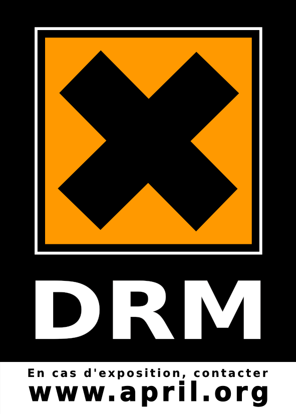 logo, 'DRM' with X
