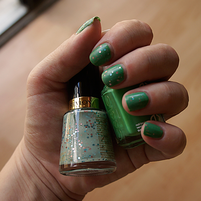 Mojito-Madness-by-Essie-&-Whimsical-by-Revlon-by-April-Golightly, mermaid mani, OPI Mermaid tears, MANIcure MonDAY Mermaid Mani