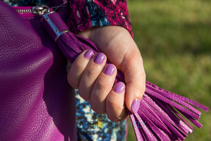 Radiant Orchid Manicure and matching purse color of the year 2014 aprilgolightly.com