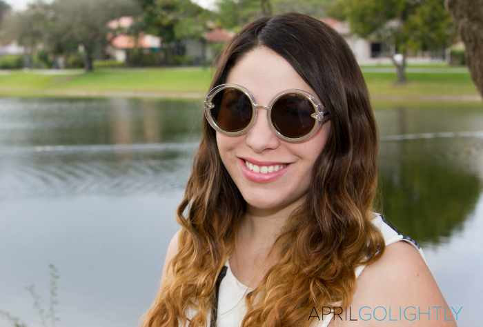 Rounds Luxe gold and clear Sunglasses with brown and gold ombre hair choies.com aprilgolightly.com