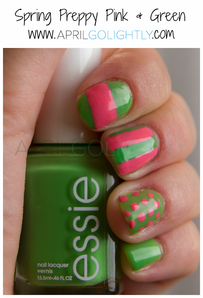 Preppy Pink and Green with Essie vices versa and bubby by Revlon #walgreensbeauty #shop aprilgolightly.com