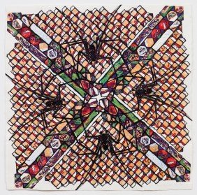 Spider Quadrille, 2001, mokuhanga on washi, 26 x 26 inches