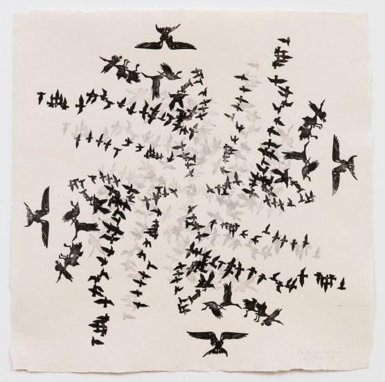 Migrating Gyre #2, 2008, mokuhanga woodcut on washi, 26 x 26 inches