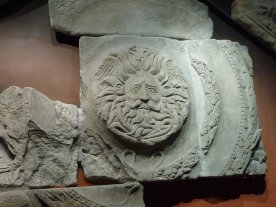 archeology reveals a combination of pagan and Roman ideas, this sun god is from the pediment of the temple