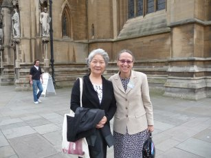 Keiko and April in front of the cathedral