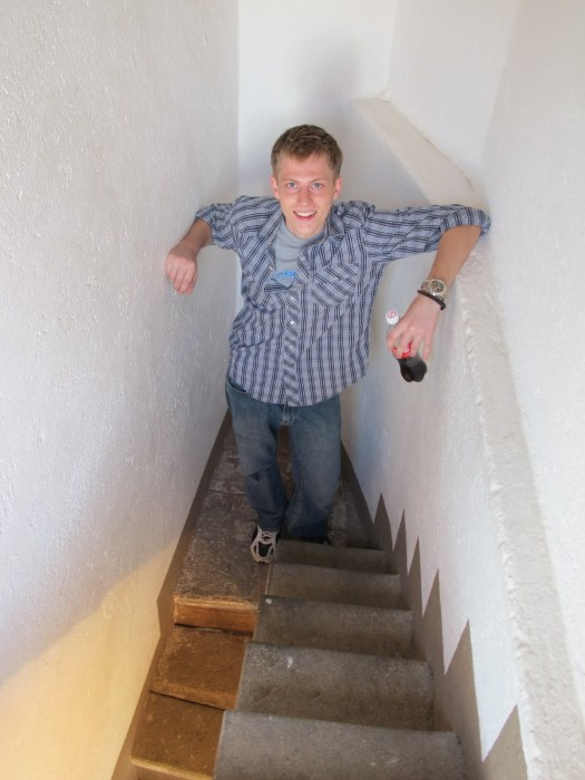 Chase in the little stairway