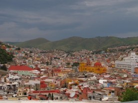 Guanajuato with th yellow basilica