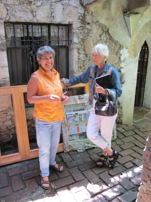 Debra and Joyce in the courtyard