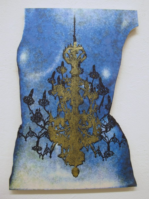 torso on shaped panel, 24 inches high, with woodblock and silkscreen