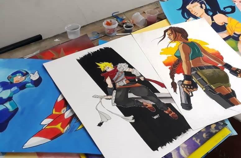 Exposição de desenhos dos alunos do Estúdio Amauri Ribeiro