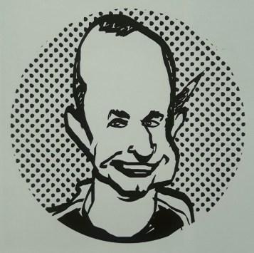 """Erasmo Spadotto, em ilustração publicada no livro """"Pira Cartum – Homenagem a 32 cartunistas e ilustradores de Piracicaba nos 45 anos do Salão de Humor"""" (organizadores: Adolpho Queiroz, Edson Rontani Junior, Maria Luziano e Victor Corte Real)."""