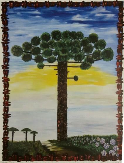"Painel ""Natureza - Araucária"", da Escola Municipal Madalena Portella."