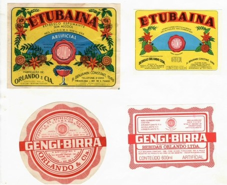 Antigos rótulos dos refrigerantes Orlando. (imagem: acervo Família Orlando)