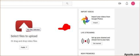 Select or drag your video to upload video on youtube-min