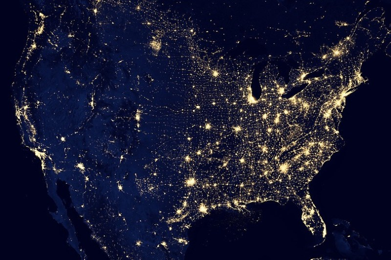 North America at night showing electrical distribution via lights