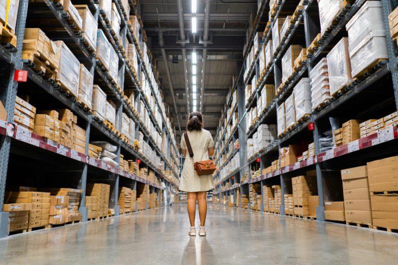 woman shopping at ikea warehouse