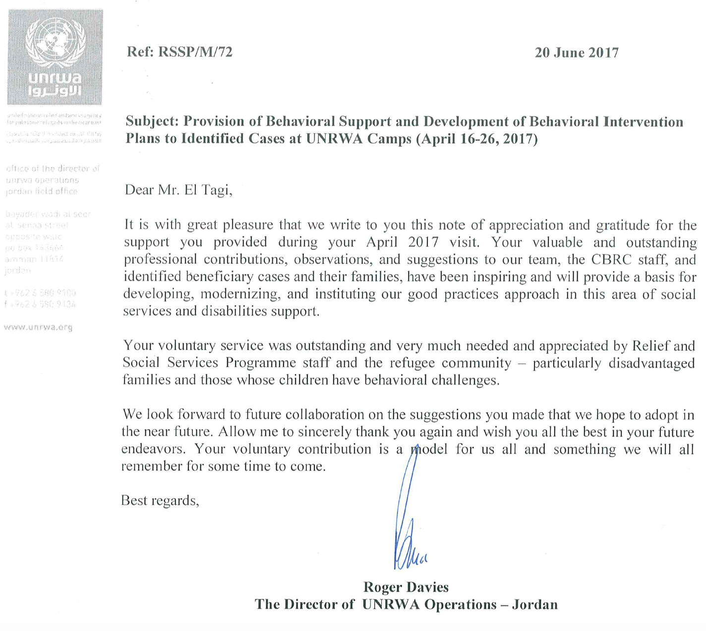 Thank You Letter From Roger Davies Director Of Unrwa Operations Jordan